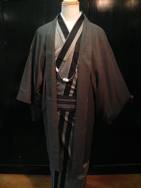 綿麻着物「棒縞」薄羽織コーディネート