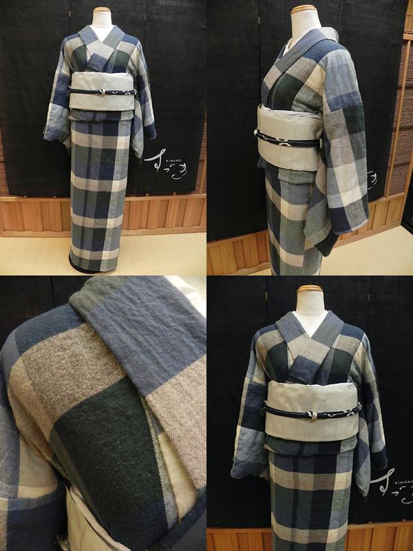 「色かさね格子」木綿着物※羽織仕立て対応