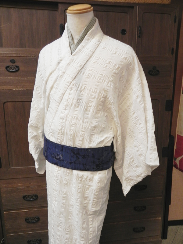 ふくら格子の木綿着物