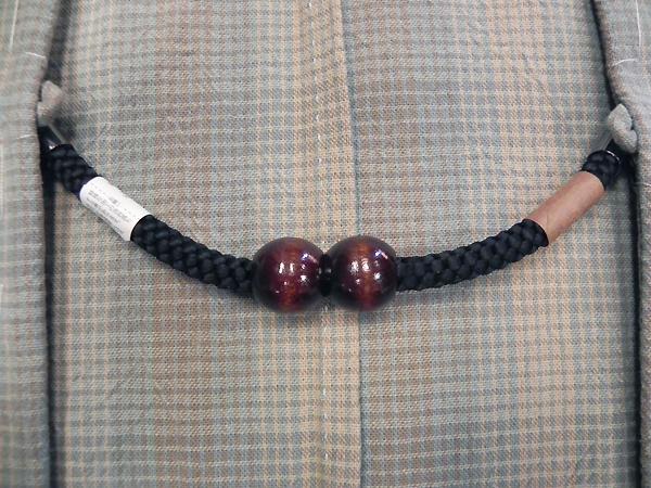 正絹羽織紐「マグネット/黒」男性用