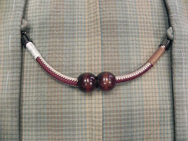 正絹羽織紐「マグネット/臙脂・白」男性用
