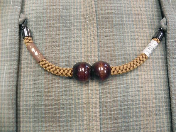 正絹羽織紐「マグネット/辛子」男性用