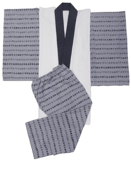 メンズ肌着セット「古布紬木綿半衿付/紺系」