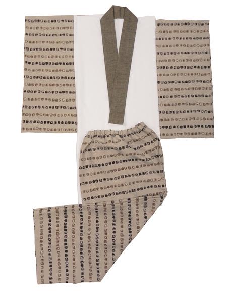 メンズ肌着セット「古布紬木綿半衿付/茶系」