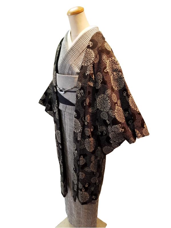三勝染シルクウール「かわり織/ひわ色」