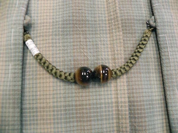 正絹羽織紐「猫目/抹茶」男性用