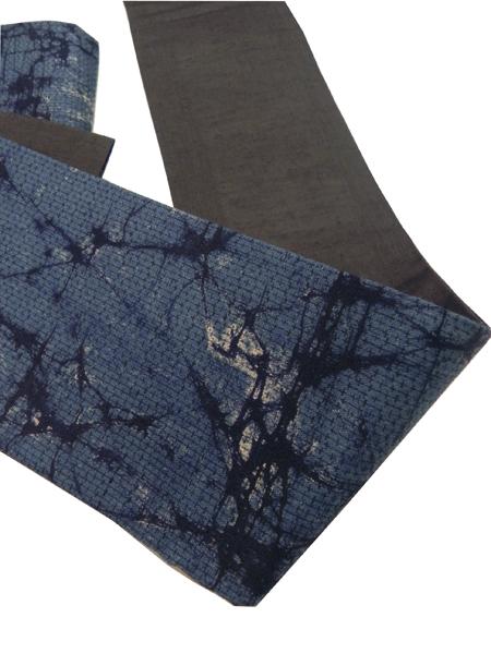 三勝染木綿角帯「ろうけつ染/藍紺」