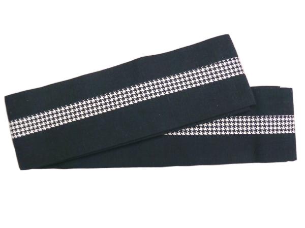木綿角帯「千鳥格子/黒」