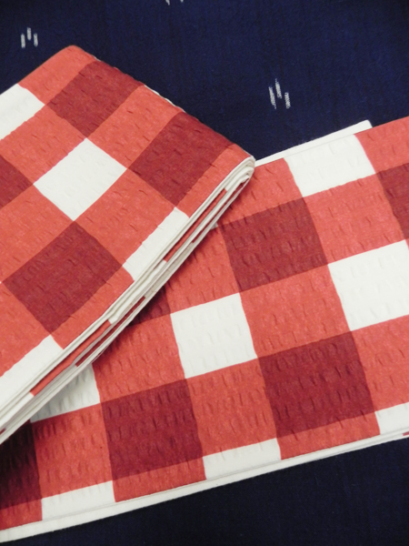 三勝染半巾帯「弁慶格子(赤)」