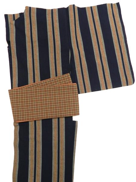 三勝染半巾帯「二筋格子(赤茶)」