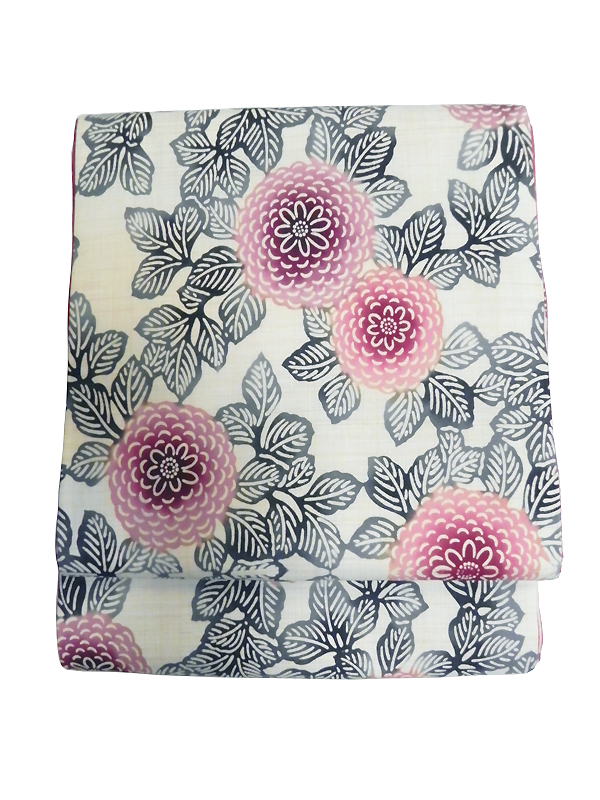 型染木綿京袋帯「牡丹/ピンク」