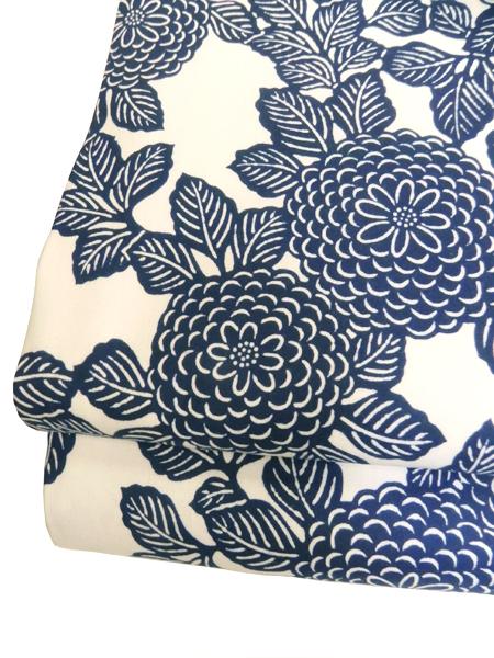 型染木綿京袋帯「牡丹/紺白」
