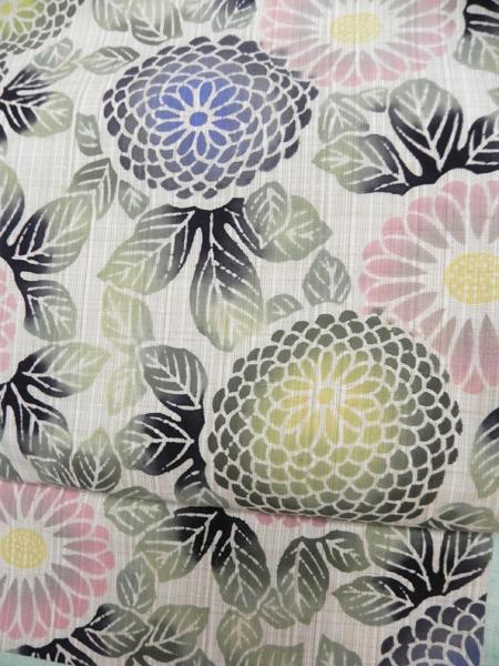 型染木綿二部式作帯「牡丹」