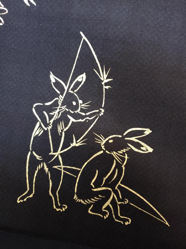 三勝染メンズ両面ゆかた「鳥獣戯画と井桁格子」