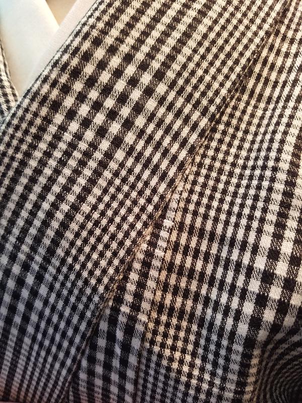 三勝染シルクウール「グレンチェック/Black&White」