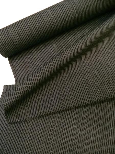 三勝綿麻紬(黒/縞)