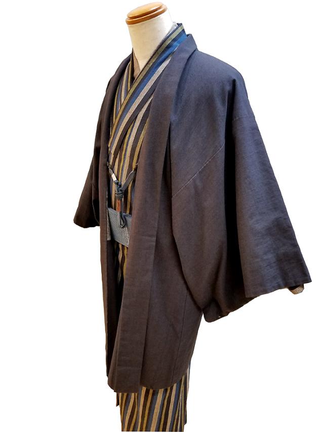 縞木綿着物/古布紬羽織