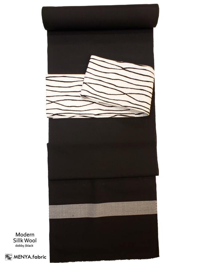 三勝染シルクウール(ドビー織/ブラック)