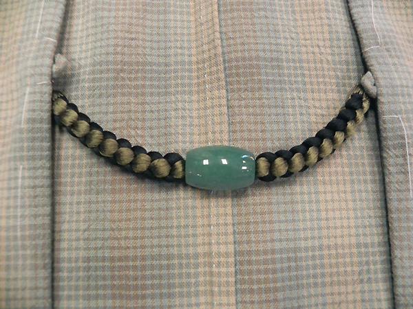 正絹羽織紐「アベンチュリン(ターコイズグリーン)抹茶・黒」男性用