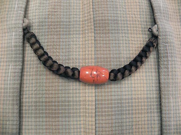 正絹羽織紐「レッドジャスパ」焦茶・黒/男性用