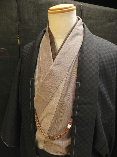 シルクウール羽織「黒地市松/単仕立て」