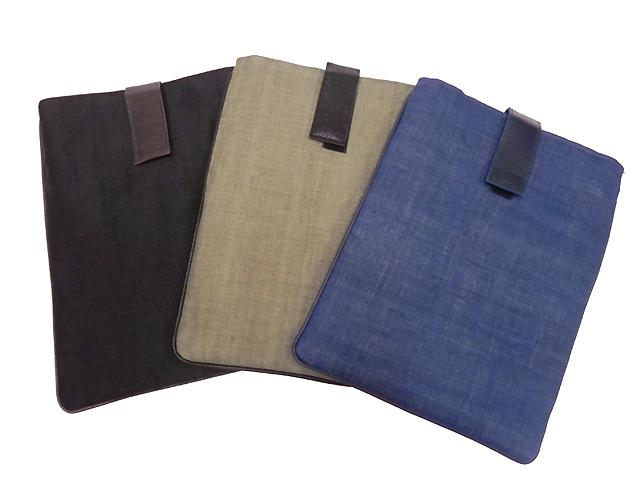 手織り麻革使いバック&タブレットケース