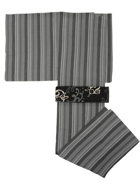 (メンズプレタ)コットンウール着物「矢鱈縞」単仕立て