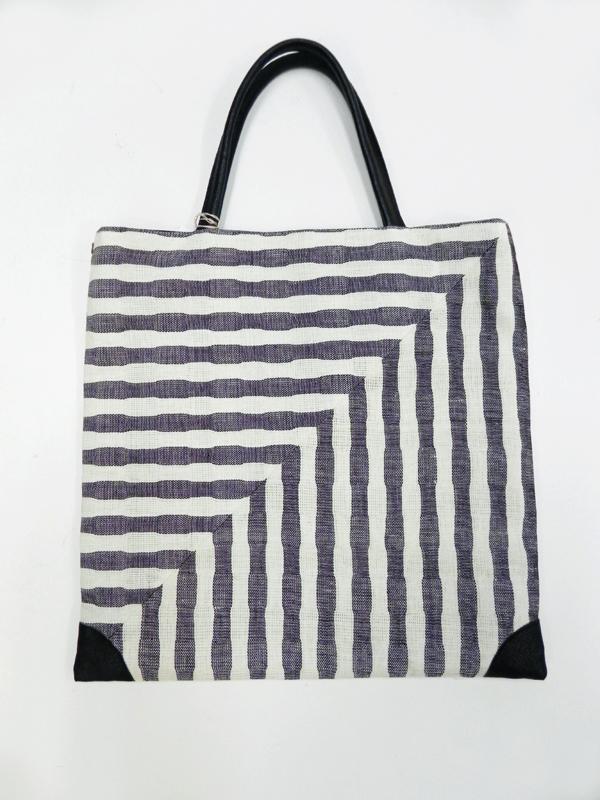 手織り麻「zebra stripe bag/large」