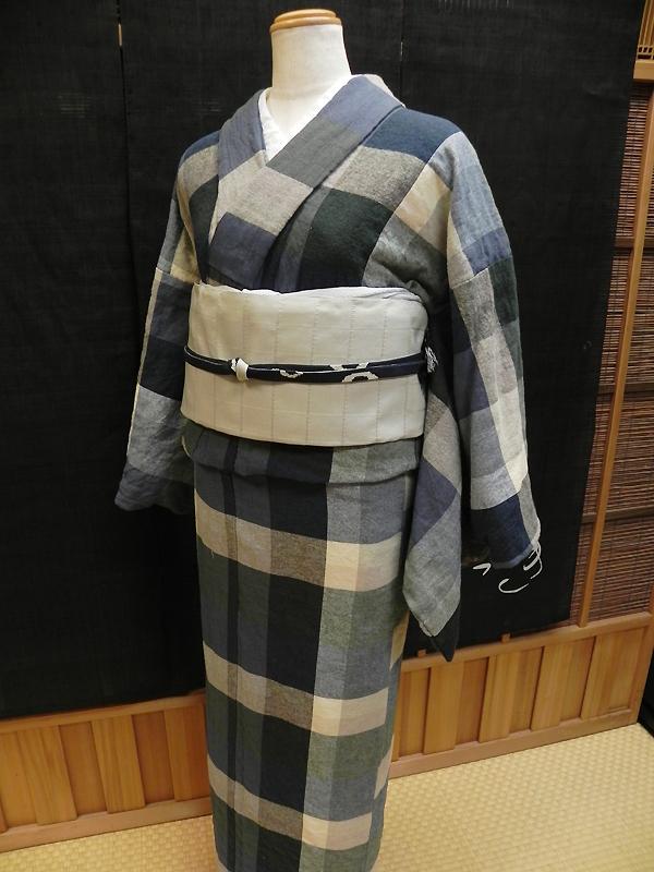 格子木綿着物「色がさね」