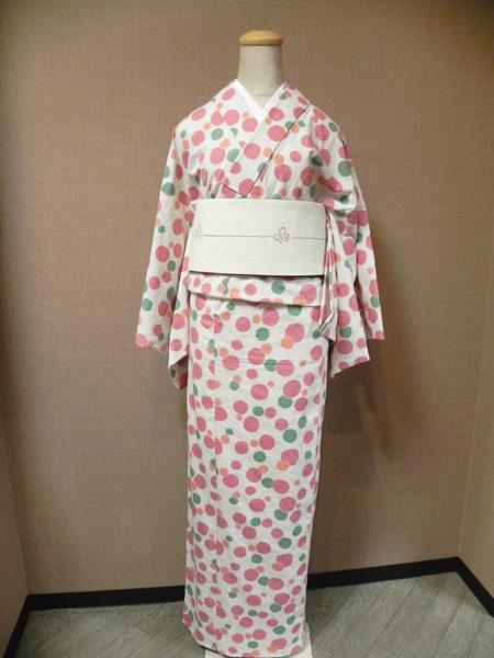 レトロポップな普段着物「しゃぼん玉柄の木綿着物」