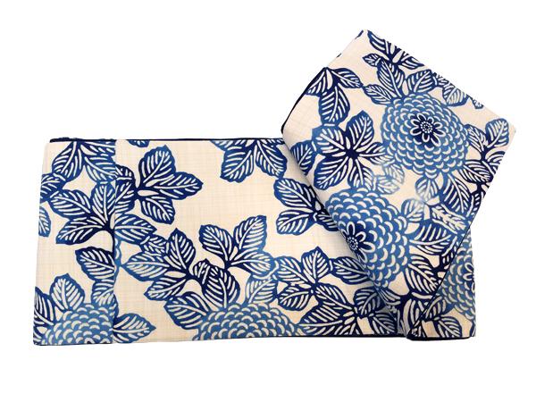 三勝染木綿細帯「菊柄/藍色」