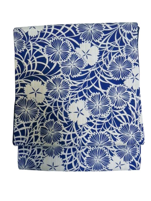 型染木綿京袋帯「牡丹/生成紺」