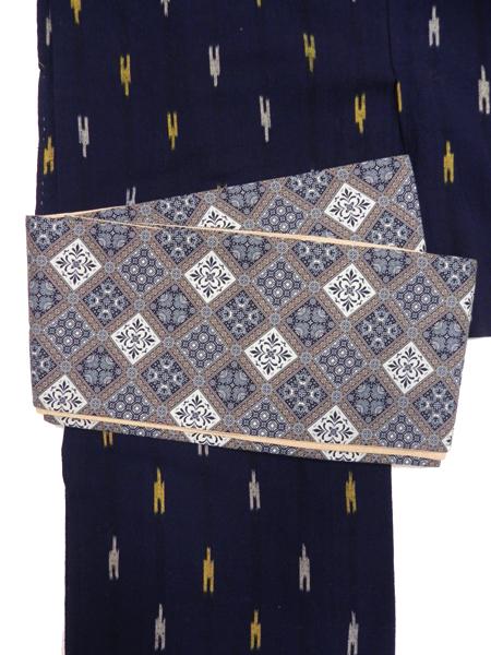 三勝染半巾帯「更紗(紺)」
