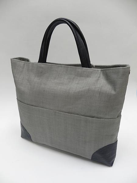 手織り麻革使いスクエアバック(消し墨)