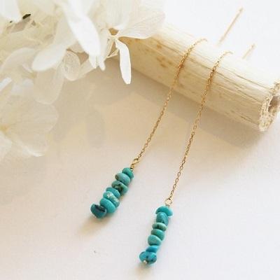 【送料無料】 K18 Riffle turquoise american pierce (リフィル ターコイズ アメリカン ピアス)
