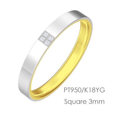 Pt950/K18 Square スクエア平打3mm幅「マリッジリング結婚指輪」