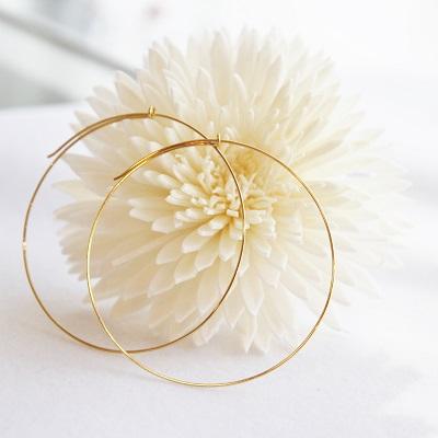 18金ゴールド-華奢シンプルピアス「デュプレーワイヤーフープピアス」50mm