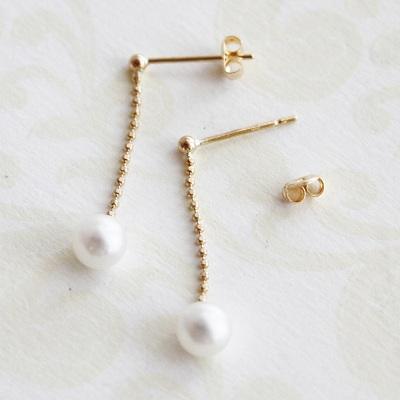 【送料無料】 K18 Little mermaid water pearl swing pierce/6mm(リトルマーメイド 淡水 パール スウィング ピアス)