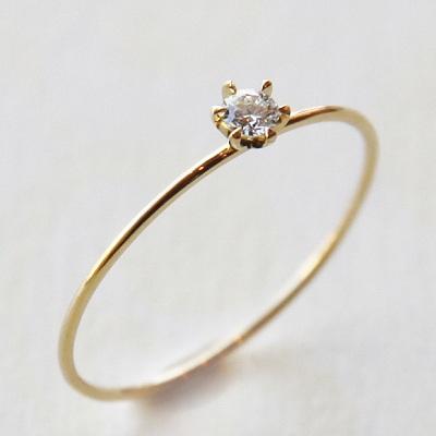 18金ゴールド-華奢シンプルリング「リトルプリンセスダイヤモンドリング0.05ct」