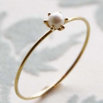 【送料無料】 K18 Little mermaid pearl ring (リトル マーメイド 淡水パール 一粒 リング)