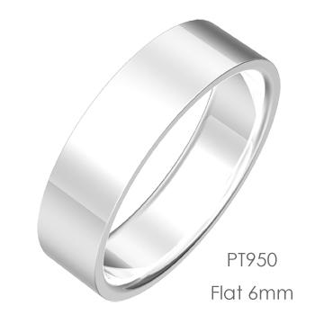Pt950 Flat 平打6mm幅「マリッジリング結婚指輪」