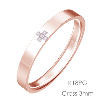 K18PG Cross クロス平打3mm幅「マリッジリング結婚指輪」