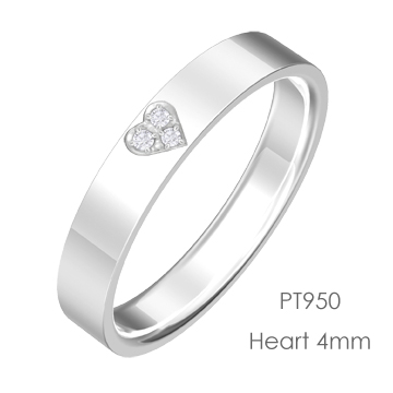 Pt950 Heart ハート平打4mm幅「マリッジリング結婚指輪」