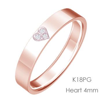 K18PG Heart ハート平打4mm幅「マリッジリング結婚指輪」