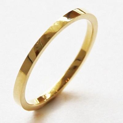 18金ゴールド-華奢シンプルリング「デュプレー平打ちリング1.5mm幅」