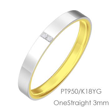 Pt950/K18 OneStraight ワンストレート平打3mm幅「マリッジリング結婚指輪」