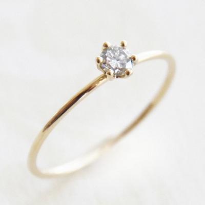 18金ゴールド-華奢シンプルリング「リトルプリンセスダイヤモンドリング 0.10ct」