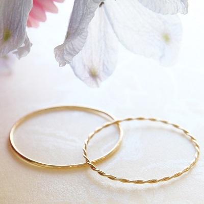 【送料無料】 K18 Duperey simple plane ring & Ultra fine twist ring 2set (デュプレ―シンプルプレーンリング&極細ツイストリング2点セット)