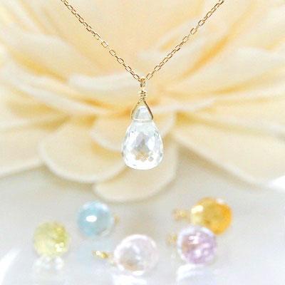 18金ゴールド-華奢シンプルネックレス「カーニバル天然石しずくネックレス」