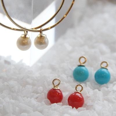 【送料無料】 K18 Color stone pierce charm/4mm (カラーストーン ピアス チャーム/4mm)